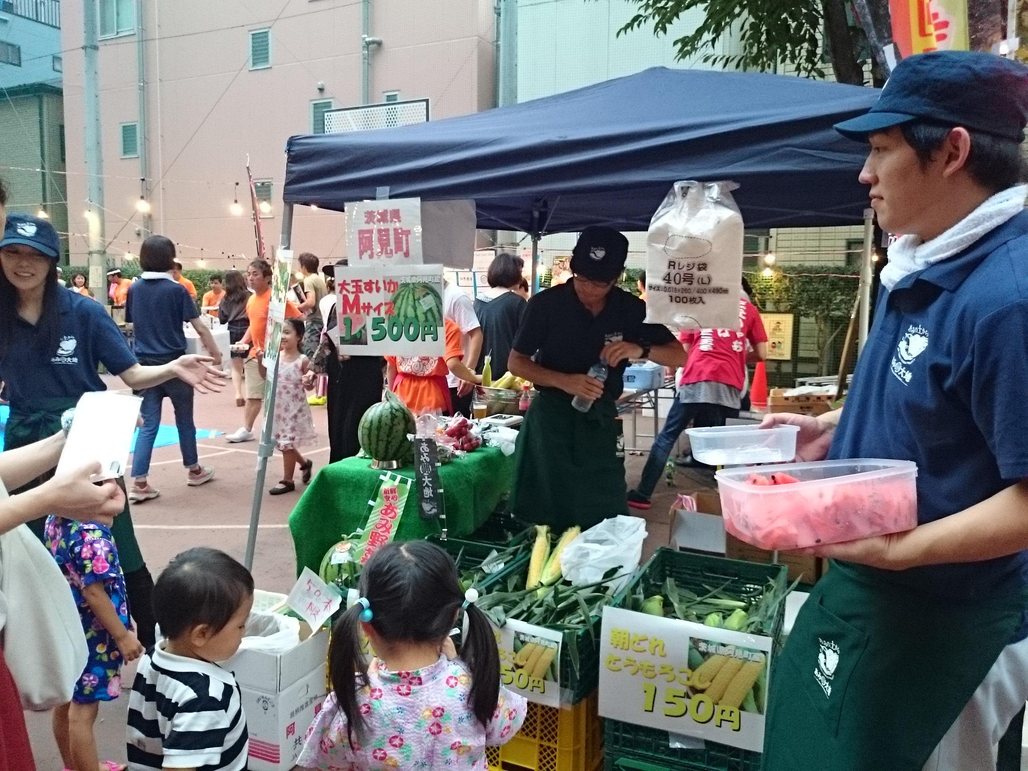 茨城県阿見町の大玉すいか屋台